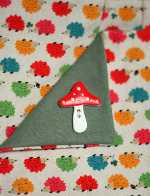 Hedgehog Linen Fabric and Toadstool Button at Piedmont Fabric